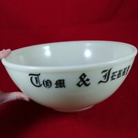 McKee Tom & Jerry Custard Huge Punch Bowl Milk Glass 106