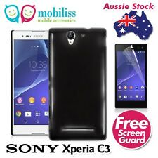 Black TPU Gel Jelly Case Cover Skin for Sony Xperia C3 Screen Protecto