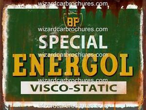 BP ENERGOL MOTOR OIL 400mm x 300mm HEAVY GAUGE STEEL GARAGE SIGN NOT - TIN
