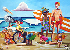ART PRINT BEACH SURF PAINTING LIMITED EDITION Andy Baker Bald Art Australia