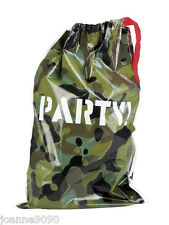 New Set of 6 Green Jungle Army Military Camo Camouflage Birthday Party Loot Bags