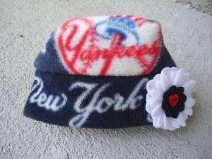 New York Yankees fleece Flower Hat Sizes Newborn Baby Girls Children Adult Women