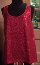 NWT Red Sequin Tank Top Women Size Med-Lg