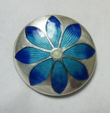 Antique Hatpin Hinged Blue Enamel Flower Sterling Silver