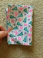 Barbie University Blanket Bedpsread White Royal Blue Stripes Initial B Stars Sil