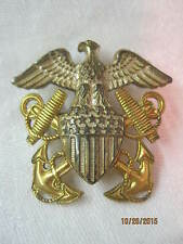 Vintage WWII Naval Insignia Pin Sterling and 1/20 10K gold Eagle Shield Anchors