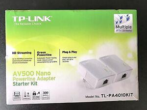 TP-Link AV500 Nano Powerline Adapter Starter Kit TL-PA4010KIT Plug & Play - New