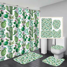 Cactus Non-Slip Door Bath Mat Toilet Cover Rugs Shower Curtain Bathroom Decor