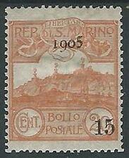 1905 SAN MARINO SOPRASTAMPATO 15 SU 20 CENT MH * - M3-7
