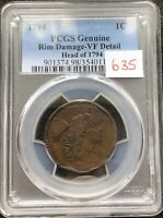 1794 Large Cent Liberty Cap Flowing Hair One High Grade VF Details PCGS #9511