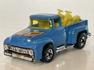 Vintage 1973 Hot Wheels Blue Ford F-100 Pickup Truck with Motorcycles Excellent!