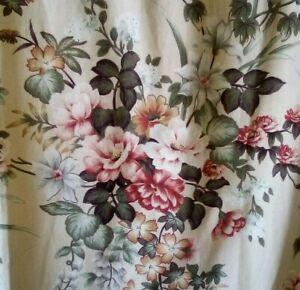 """Vintage 80s 90s Pr Curtains Pink Floral  36"""" x 40"""" Each  Craft Reuse Cottagecore"""
