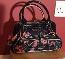 Karen Millen Black Chelsea Coral & Red Tulip Hand Bag with Patent Leather Trim