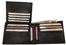 Mens Genuine Leather Multi Credit Card Pockets Flip Up ID Wallet Bifold Black