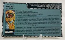 GI Joe 1989 Payload V2 Shuttle Pilot File Card Uncut Vintage Original
