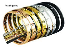 Mens Women Screwdriver Screw Steel Bangle Love Bracelet Silver Gold Black Rose