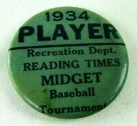 1934 PLAYER Reading Times MIDGET Baseball Tournament Pin Button Keystone Badge