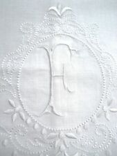 Large White Linen Guest Bathroom Hand Towel monogrammed F hemstitched whites