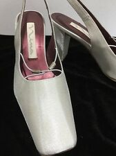 Nina Shimmers Fabric Silver Beige Wedding Heels Shoes Women's 7.5M (c4)