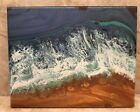 """Original abstract Seascape Ocean Waves Shore painting acrylic pour  8x10"""""""