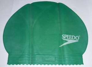 Speedo Plain Green Moulded Silicone Adults Swimming Cap for improved comfort/fit