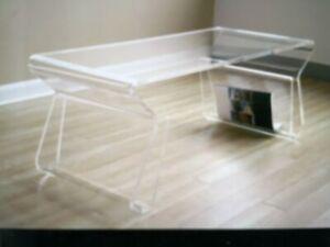 Baxton Studio  acrylic coffee table with magazine rack (Black)