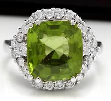 9.30 Carats NATURAL PERIDOT and DIAMOND 14K Solid White Gold Ring