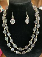 Vintage Clear Pink Lucite And Faux Pearl Opera Length Necklace 54""