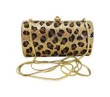 Anthony David Leopard Animal Print Crystal Evening Bag with Swarovski Crystals