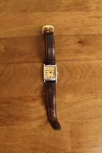 Emporia Armani Watch brown leather strap with rectangular face Unisex