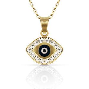 14k Yellow or White Gold CZ Pointed Evil Eye Pendants