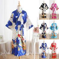 Women Long Satin Bathrobe Bridesmaid Kimono Gown Robes Sleepwear Nightwear