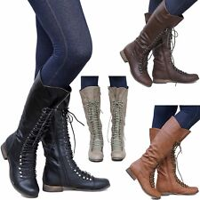 New Women OGa35 Black Tan Brown Combat Military Lace Up Knee High Riding Boots