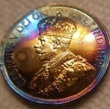 Rare!! AU-58  1936 Canada SIlver Dollar nicely toned with rainbow colours wow!!!