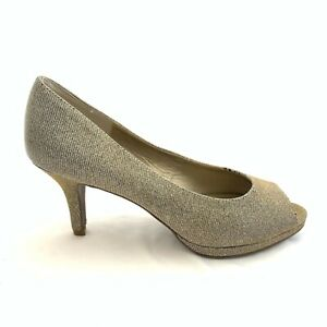 Coach and Four Women Size 9.5 Silver Gold Sparkle Open Peep Toe Pumps Heels Shoe