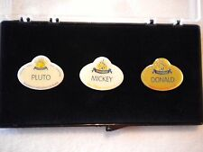 Disney Disneyland DLR 3 Pin Set Cast 50th Name Tag Replicas Donald Mickey Pluto