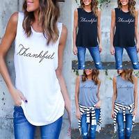 Ladies Womens Tank Top Vest Sleeveless Blouse Casual T-shirt Cotton Fashion Tee