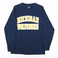 Vintage STARTER Michigan Wolverines Blue Sports Long Sleeve T-Shirt Mens M