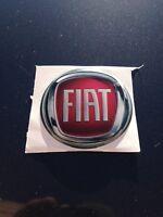 Adesivo Stemma Resinato 3D Logo Fiat Rosso e Argento Ø 50 mm