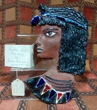 EGYPTIAN BUST. WALL PLAQUE BY ADAM DWORSKI. MID CENTURY WELSH ART. PERSONAL MARK