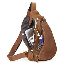 Man's Brown Real Leather Messenger Sling Chest Bag Sports Pouch Pack Cross Body