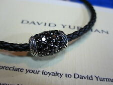 New David Yurman 3mm Black Diamonds Leather Bracelet Woven Retails: $795.00