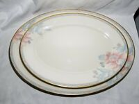 "Lenox Westwood 2 set Oval Serving platter Ivory Pink Floral Gold Trim ""13 & ""16"