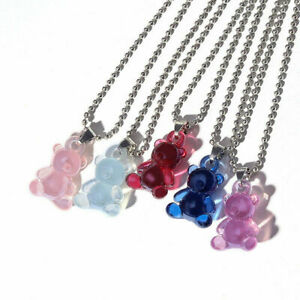 Funny Multicolor Transparent Bear Necklace For Women Cute Candy Color Resin