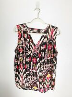 Womens Blouse Size Medium Tribal Blouse Sleeveless Polyester