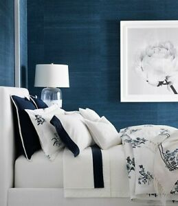 Ralph Lauren Blanc Bleu Fallon 3P King Duvet Shams Set chinoiserie Frework