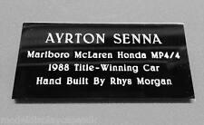 1:8th McLaren Mp4/4 Ayrton Senna Build Your Own Model Engraved Name Plaque Only