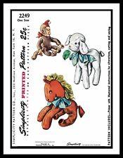 Simplicity 2249 Fabric Sewing Pattern Toy Craft Stuffed Animal Monkey Horse Lamb