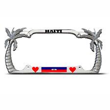 LOVE HAITI PALM TREE TROPICAL License Plate Frame HAITIAN FLAG PRIDE Auto Tag