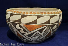 Acoma Indian Pottery: Polychrome Bowl with Pie Crust Rim c.1940